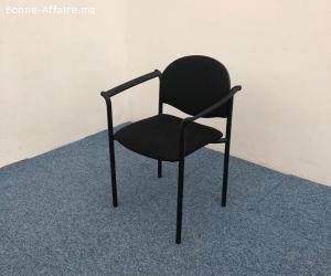 Chaise visiteur avec accoudoirs empilable tissus