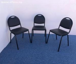 chaise visiteur simili cuir noir X3