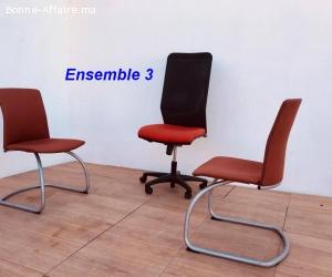Ensemble chaise président et chaises visiteurs lot 3
