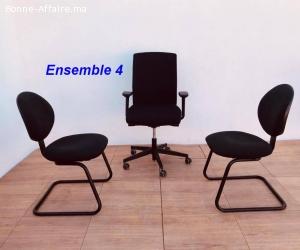 Ensemble chaise président et chaises visiteurs lot 4
