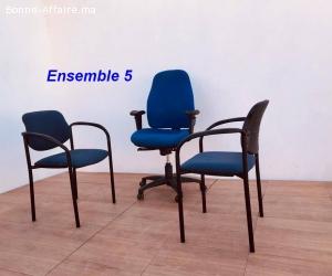 Ensemble chaise président et chaises visiteurs lot 5
