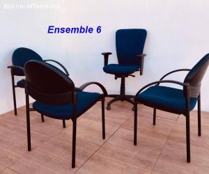 Ensemble chaise président et chaises visiteurs lot 6