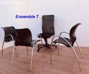 Ensemble chaise président et chaises visiteurs lot 7