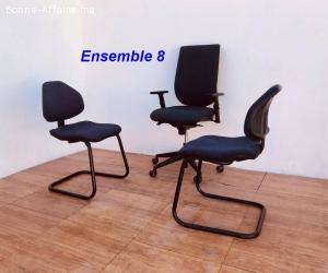 Ensemble chaise président et chaises visiteurs lot 8