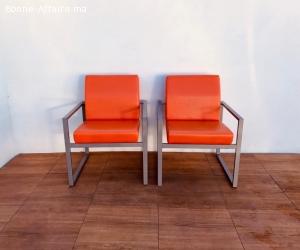 Ensemble fauteuil simili-cuir Orange avec accoudoir