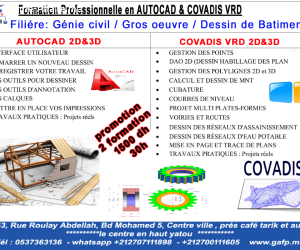 Formation  AutoCad  et  Covadis  (1500 dh pour 30h )