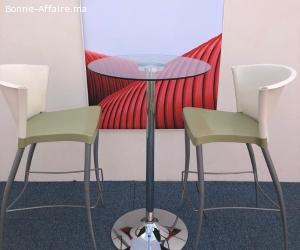 Table haute en verre H 110cm D 65cm
