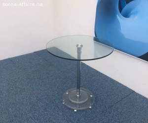 Table ronde en verre 70cm